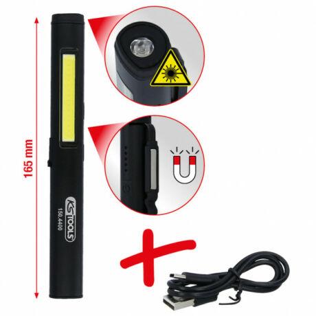 LED COB Stripe ellenőrző lámpa 350 lumen LED-es UV-spottal és lézer mutatóval