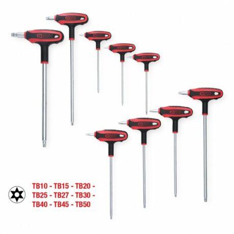 T-fogantyús kulcskészlet, Torx, furatos ,9 részes TB10-TB50