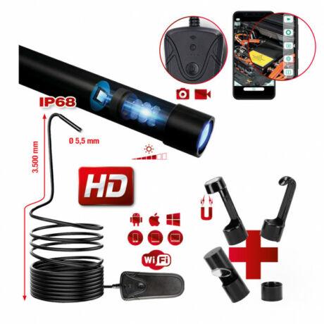 WiFi videoszkóp-készlet  Ø 5,5 mm 0° HD front kamera-szondával, 5 részes