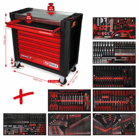 Performanceplus műhelykocsi-készlet P25 564 szerszámmal 8 fiókban