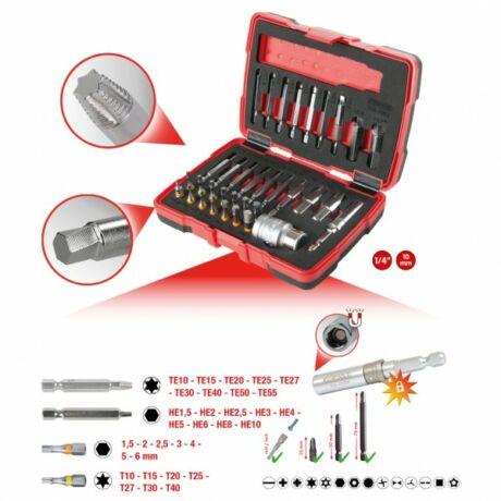 """1/4"""" + 10 mm Torx és belső hatlapú csavarokat kihajtó készlet, 34 részes"""